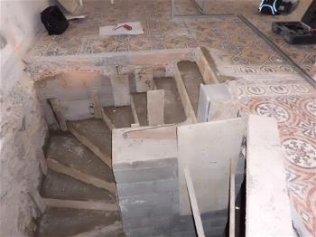 Escalier pendant les travaux