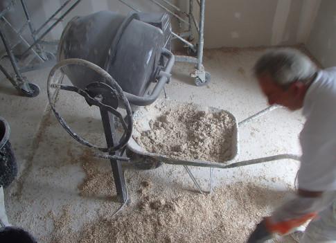 Préparation du chaux chanvre sur le chantier